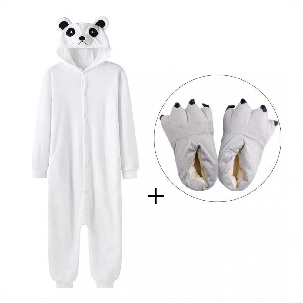 Polar Bear Onesie Pajamas with Shoes for Adult & Teens