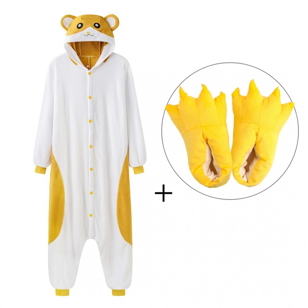 Hamster Onesie Pajamas with Shoes for Adults & Teens