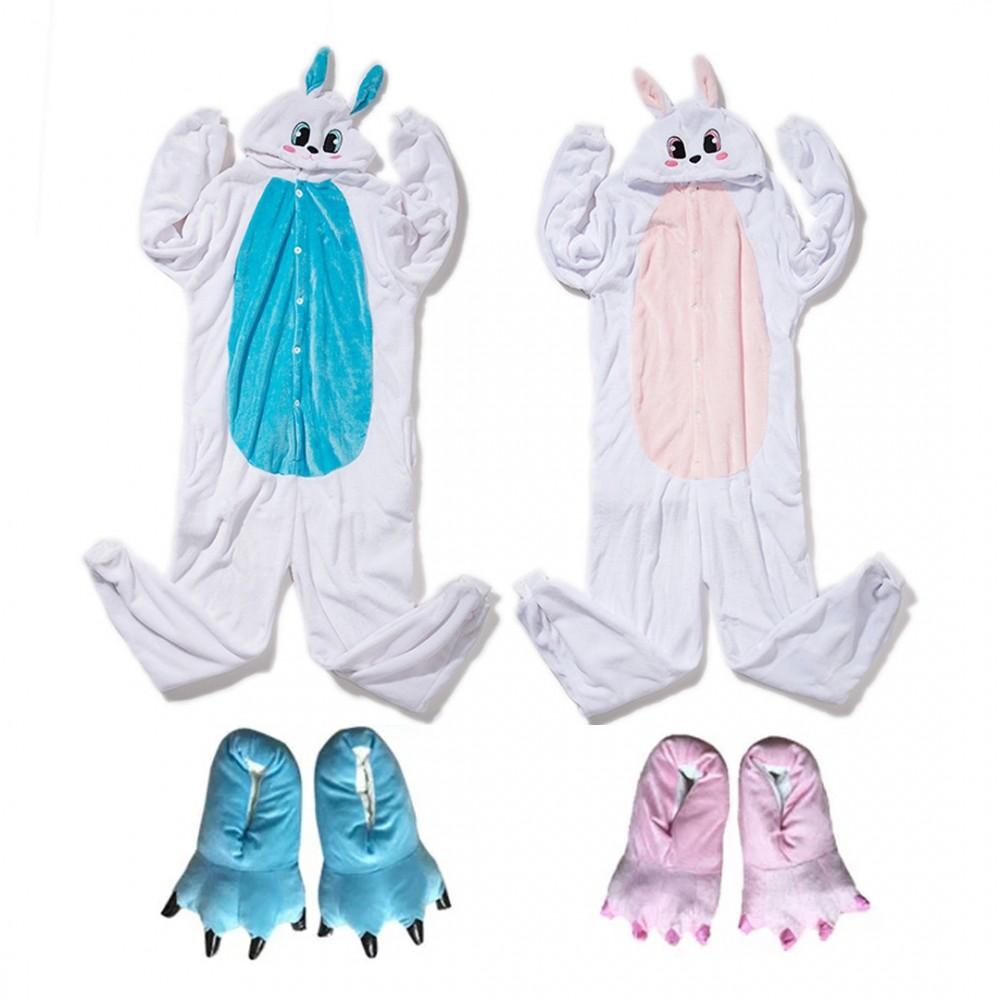 Cute Blue & Pink Bunny Onesie Costume for Adults & Kids Rabbit Onesie