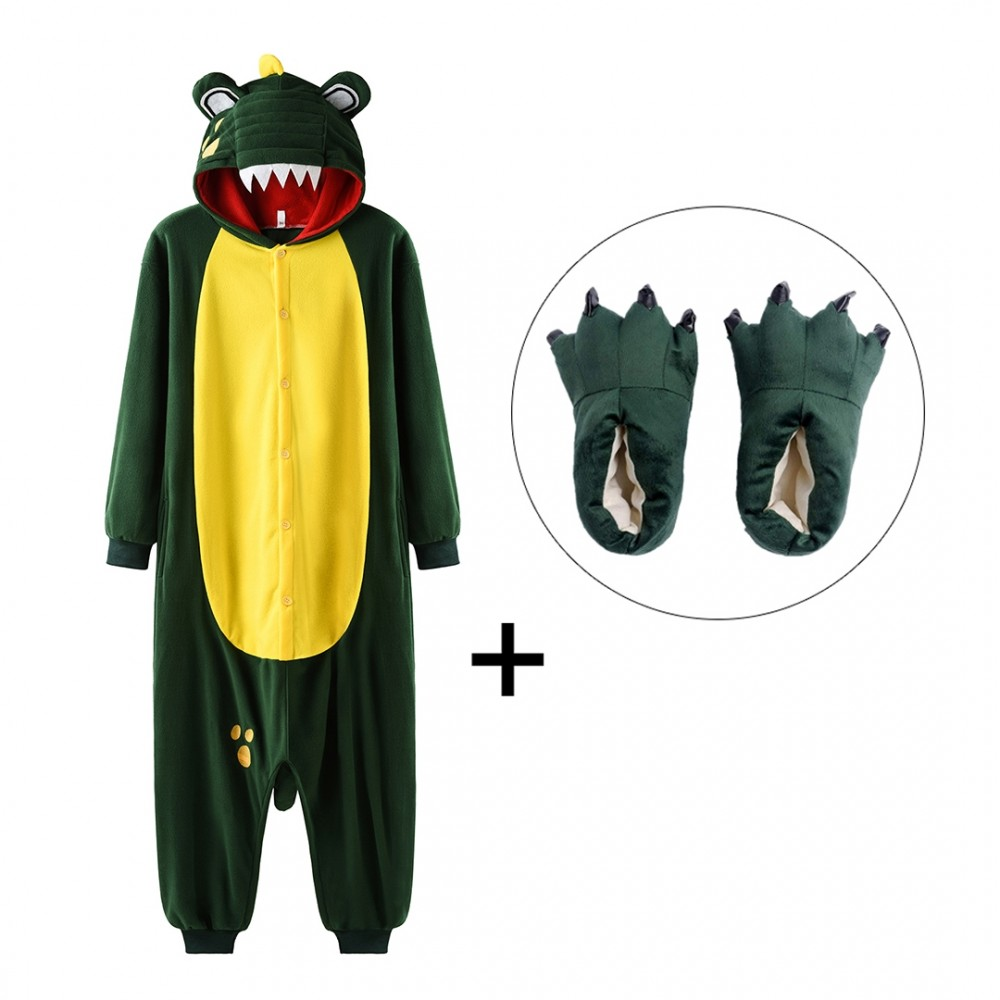 Crocodile Onesie Pajamas with Shoes for Adults & Teens