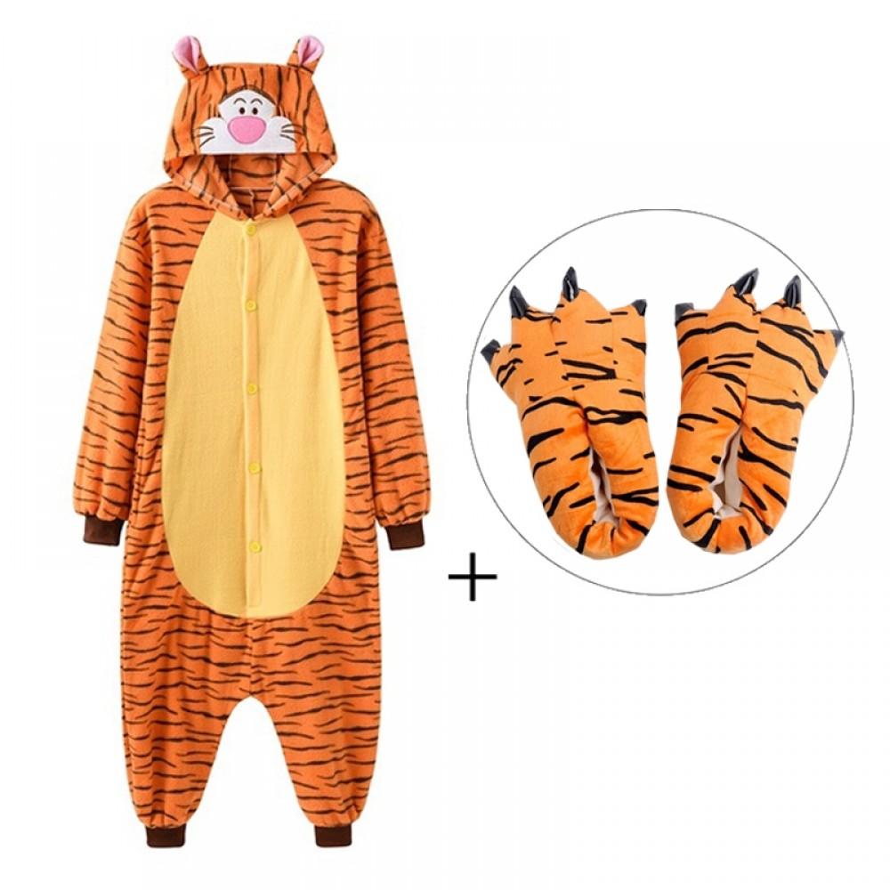 Tigger Onesie Pajamas with Shoes for Adults & Teens Halloween Costumes