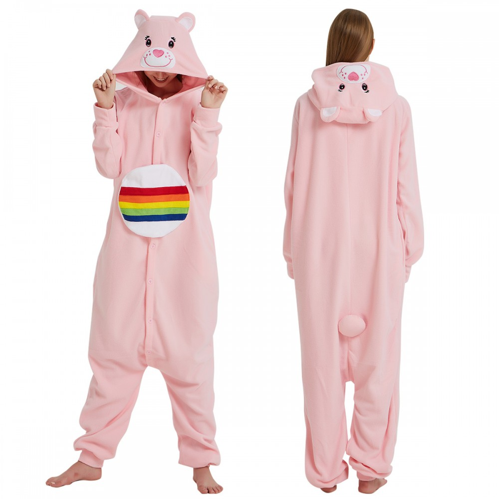 Pink Care Bear Onesie Pajamas for Adult & Teens Animal Onesies