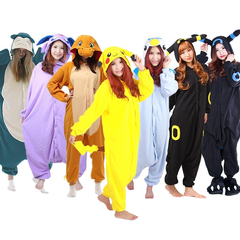 Pokemon Onesies Pajamas Pikachu & Charmander & Snorlax & Umbreon & Piplup & Espeon Costume