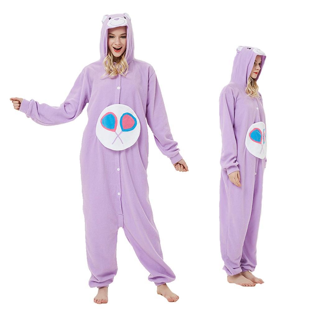 Purple Care Bear Onesie Pajamas Animal Onesies for Adult & Teens