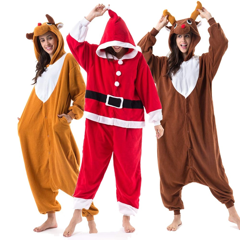 Santa Claus & Rudolph Reindeer Onesie for Adults and Teens Mens and Womens Christmas Costume