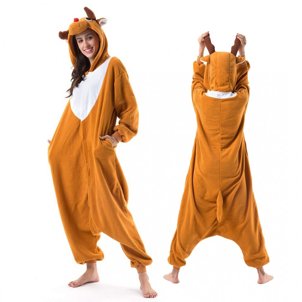 Reindeer Onesie for Adults and Teens Light Brown Red Nose Rudolph