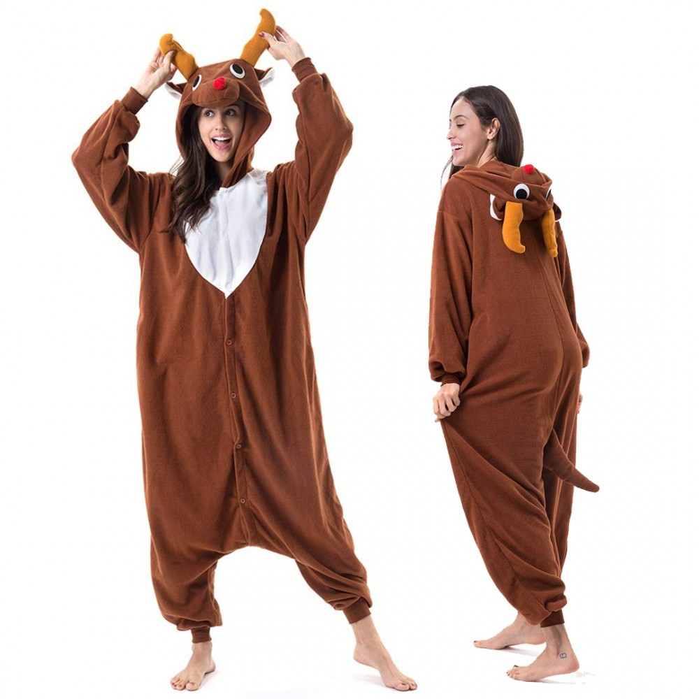 Reindeer Onesie for Adults and Teens Dark Brown Red Nose Rudolph