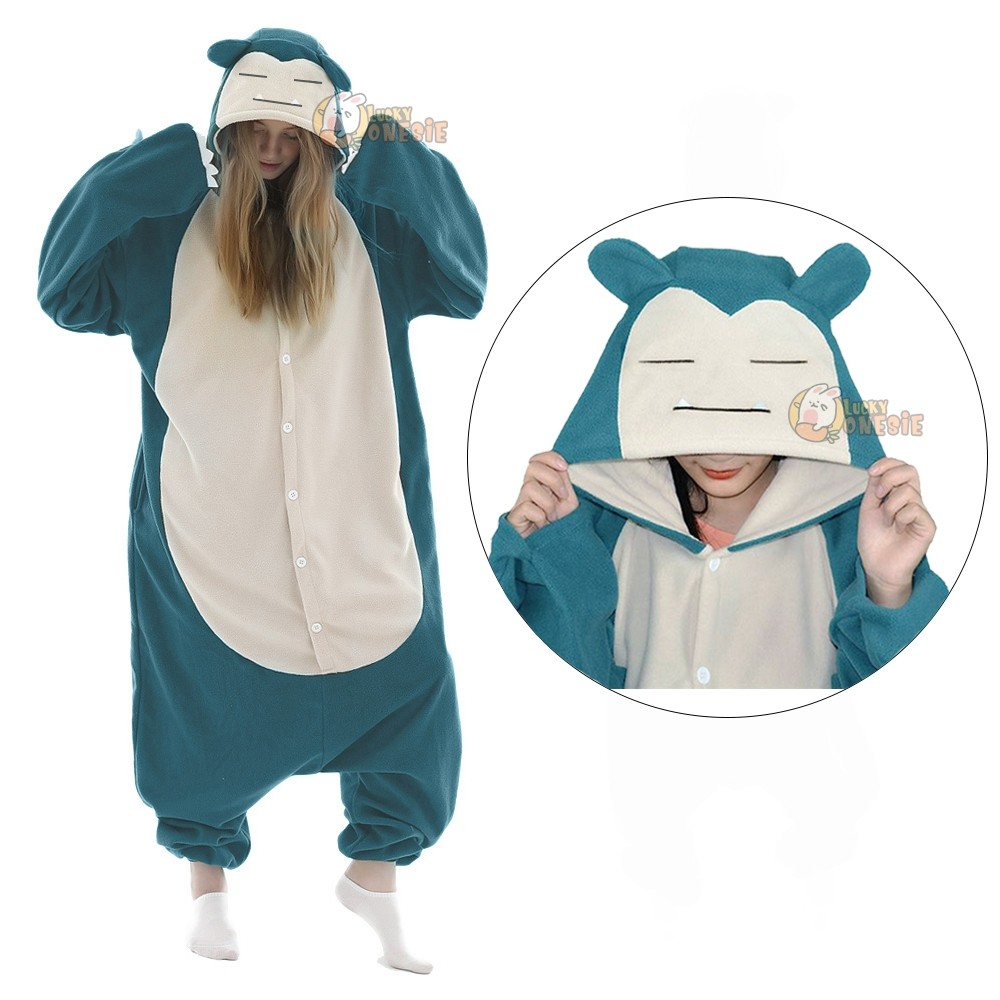 Womens & Mens Snorlax Onesie for Adults Pokemon Costumes with Plus Size