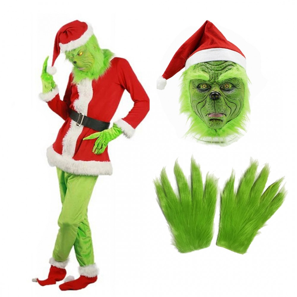 The Grinch Costume Adult Full Sets Halloween Santa Costume Outfit