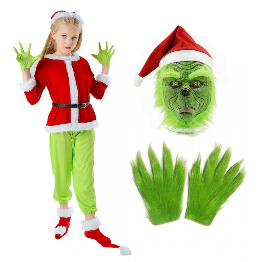 The Grinch Costume Kids Full Sets Halloween Santa Costume Outfit
