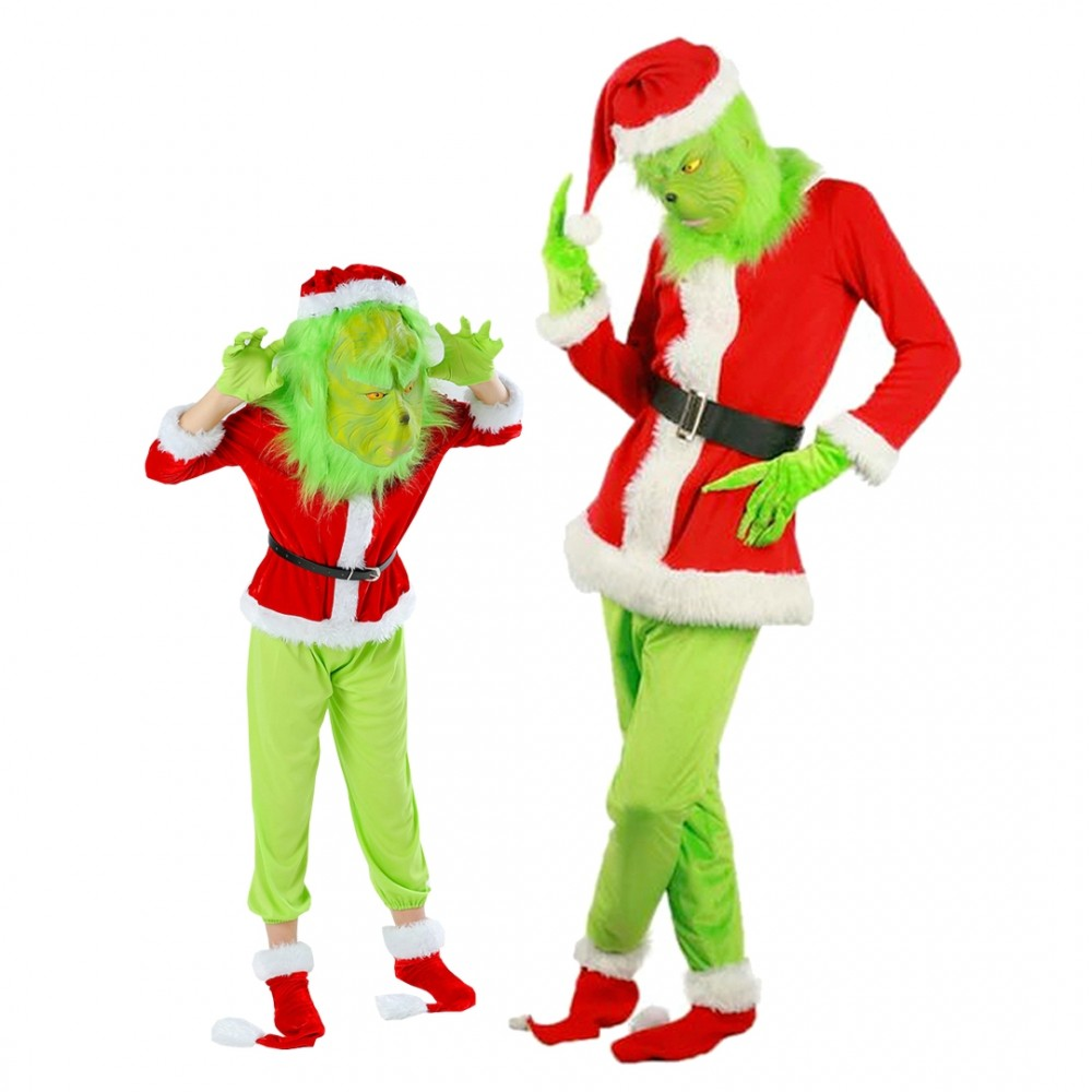 Grinch Costume Adult & Kids Full Sets Halloween Santa Costume Outfit