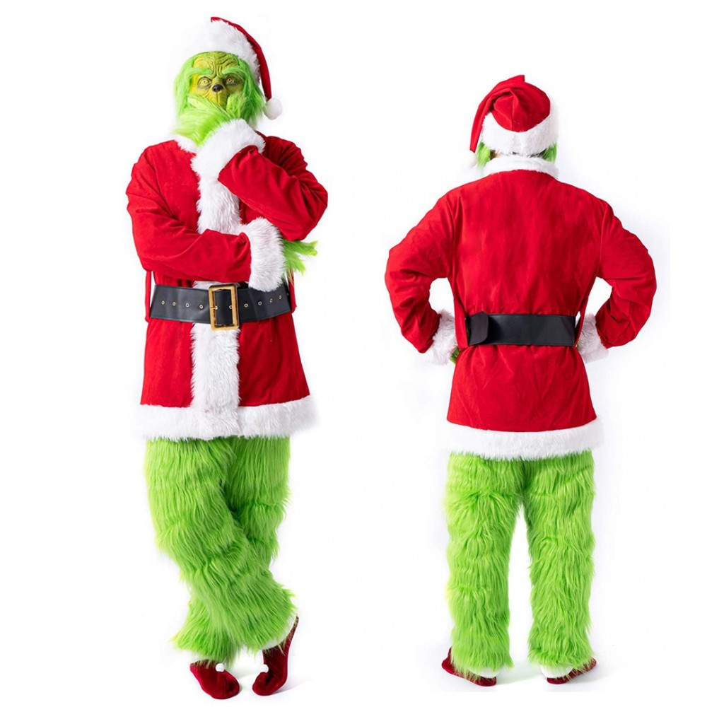 Deluxe Grinch Costume Adult Full Sets Fury Pants and Gloves